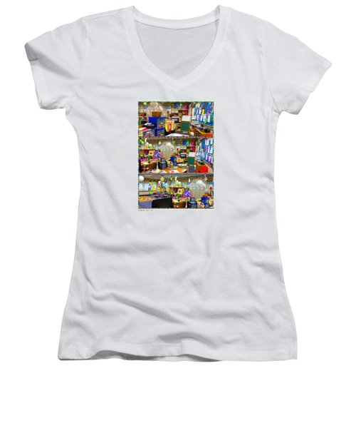 Women's V-Neck T-Shirt (Junior Cut) featuring the photograph Kindergarten Classroom by Tina M Wenger