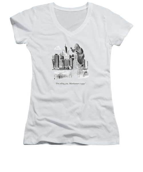 King Kong, Atop The Williamsburgh Savings Bank Women's V-Neck