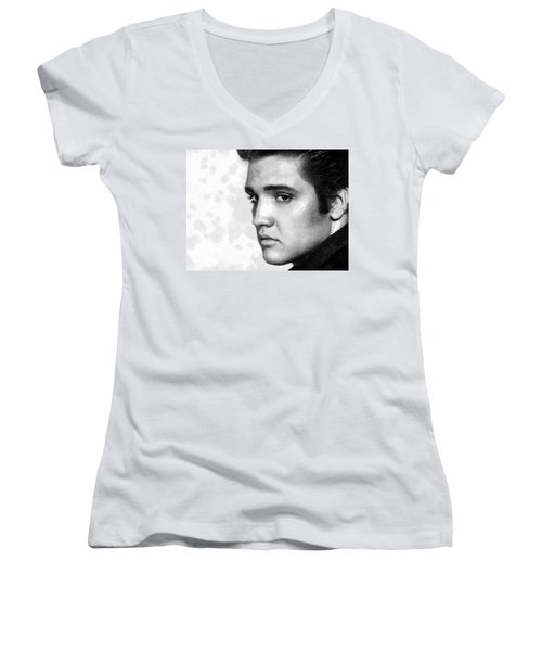King Of Rock Elvis Presley Black And White Women's V-Neck T-Shirt (Junior Cut) by Georgi Dimitrov