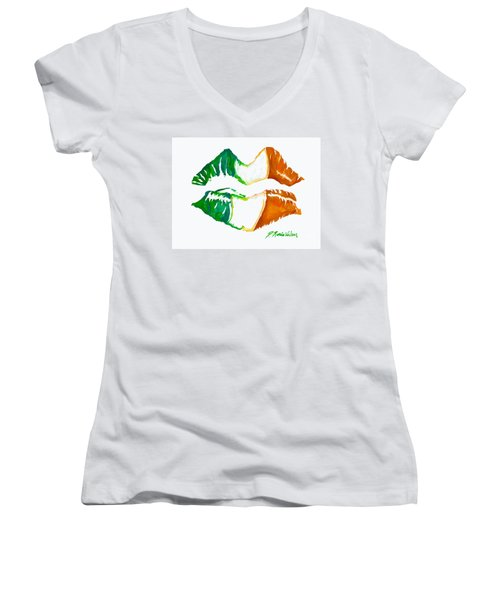 Kiss Me I'm Irish Women's V-Neck T-Shirt (Junior Cut) by D Renee Wilson