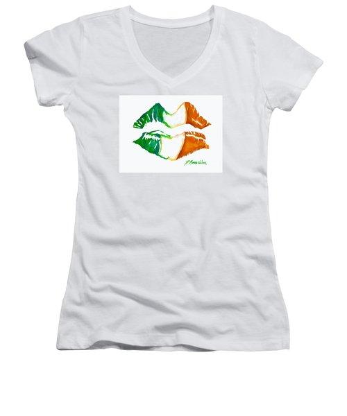Kiss Me I'm Irish Women's V-Neck (Athletic Fit)