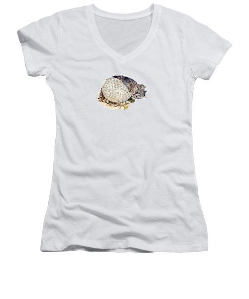 Women's V-Neck T-Shirt (Junior Cut) featuring the photograph Kitten With An Easter Bonnet by Susan Leggett