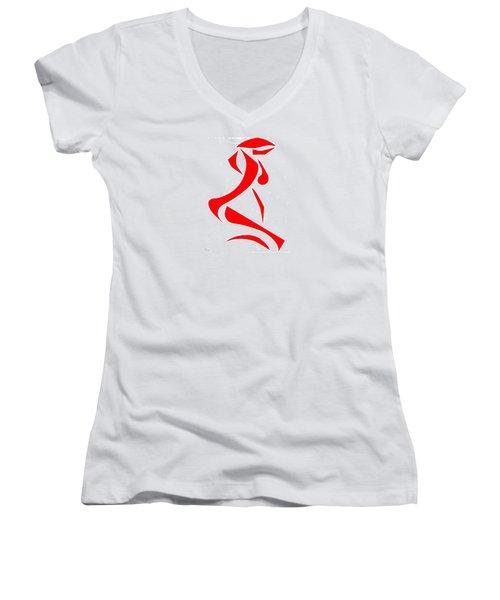 Women's V-Neck T-Shirt (Junior Cut) featuring the digital art Kneeling Nude by Delin Colon