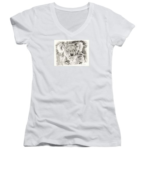 Koala Garage Girl Women's V-Neck T-Shirt (Junior Cut) by Remrov
