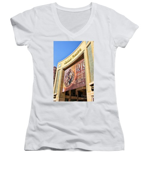 Kodak Theatre Women's V-Neck T-Shirt (Junior Cut) by Mariola Bitner