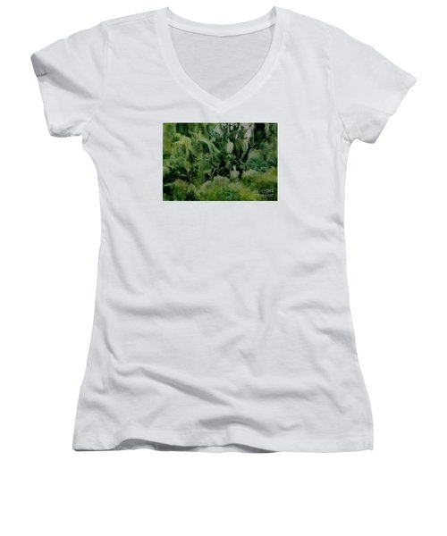 Women's V-Neck T-Shirt (Junior Cut) featuring the painting Kudzombies by Elizabeth Carr