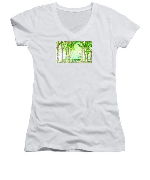 La Defense Platanuses Women's V-Neck T-Shirt (Junior Cut) by Oleg Zavarzin