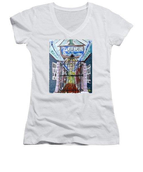 La La Land  Women's V-Neck T-Shirt (Junior Cut) by Leslie Byrne