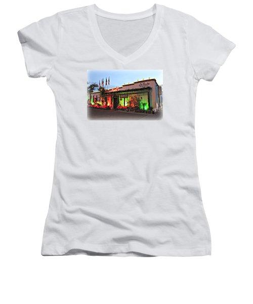 Women's V-Neck T-Shirt (Junior Cut) featuring the photograph La Posta De Mesilla New Mexico by Barbara Chichester