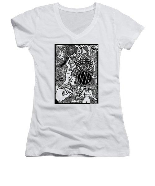 Labor Daze Women's V-Neck T-Shirt