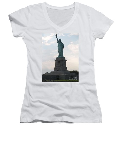 Women's V-Neck T-Shirt (Junior Cut) featuring the photograph Lady Liberty by Luther Fine Art