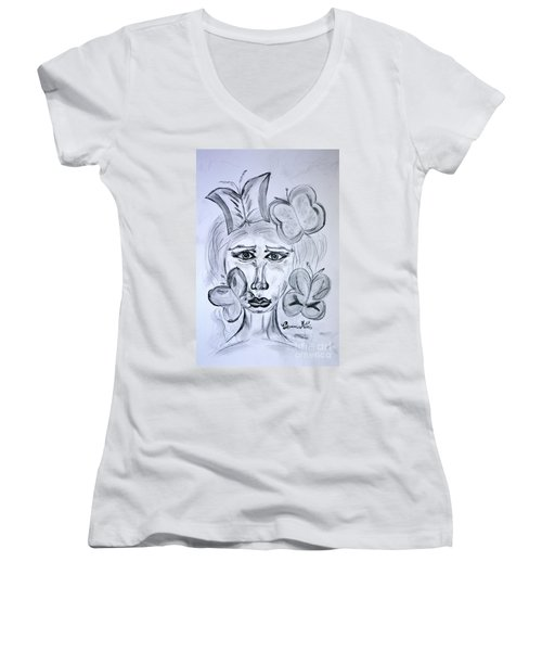 Lady Queen Of Butterflies Women's V-Neck T-Shirt