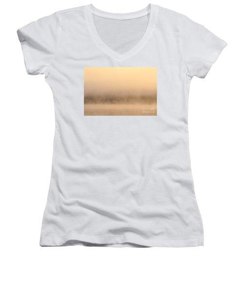 Lake Cassidy With Fog And Trees Along Shoreline Shrouded In Fog Women's V-Neck T-Shirt