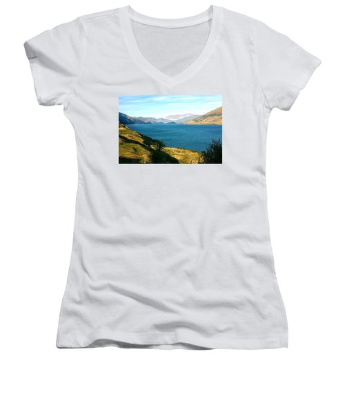 Women's V-Neck T-Shirt (Junior Cut) featuring the photograph Lake Hawea by Stuart Litoff