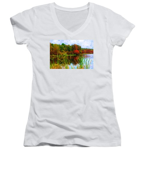 Lake In Early Fall Women's V-Neck (Athletic Fit)