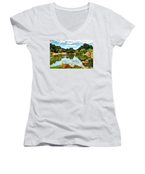 Lake Lucky Women's V-Neck T-Shirt (Junior Cut) by Bob Hislop