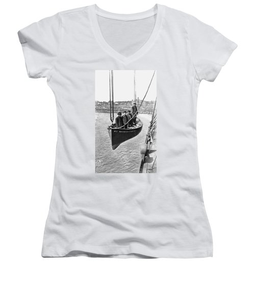 Lake Michigan Ferry Lifeboat Women's V-Neck (Athletic Fit)