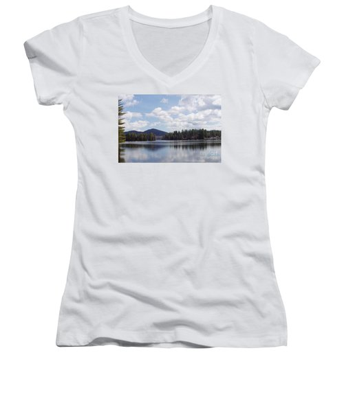 Women's V-Neck T-Shirt (Junior Cut) featuring the photograph Lake Placid by John Telfer