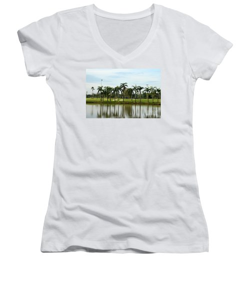 Lake Sand Traps Palm Trees And Golf Course Singapore Women's V-Neck T-Shirt (Junior Cut) by Imran Ahmed