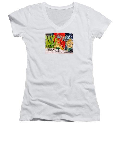 Lake Travis Cactus Garden Women's V-Neck T-Shirt (Junior Cut) by Fred Jinkins