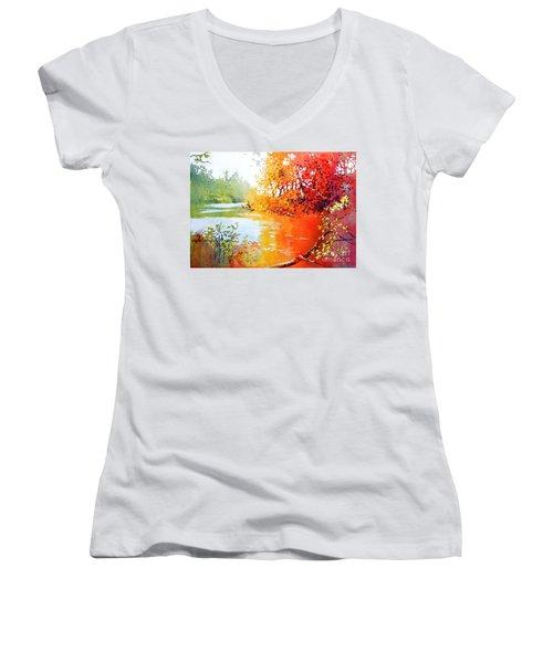Lakescene 1 Women's V-Neck T-Shirt