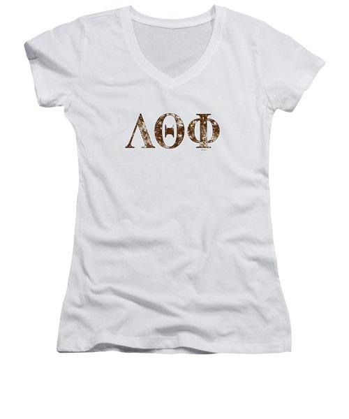 Lambda Theta Phi - White Women's V-Neck T-Shirt (Junior Cut) by Stephen Younts
