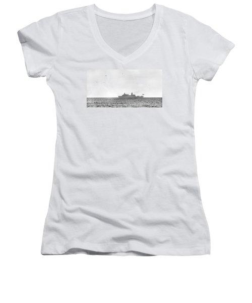 Landing On The Horizon Women's V-Neck T-Shirt (Junior Cut) by Betsy Knapp