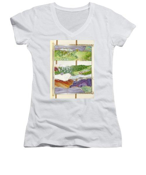 Landscape 2 Women's V-Neck T-Shirt (Junior Cut) by Karin Thue
