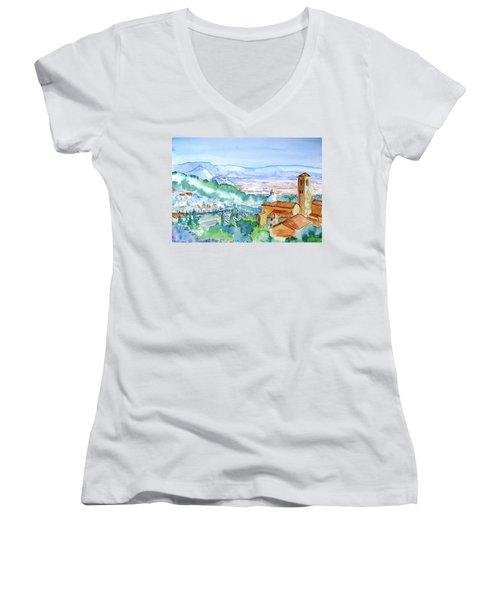 Tuscany Valley  Medieval Village Of Massa Women's V-Neck T-Shirt (Junior Cut) by Trudi Doyle
