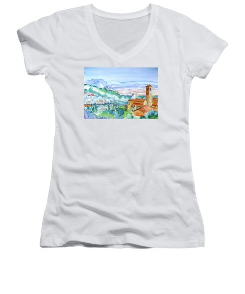 Tuscany Valley  Medieval Village Of Massa Women's V-Neck T-Shirt