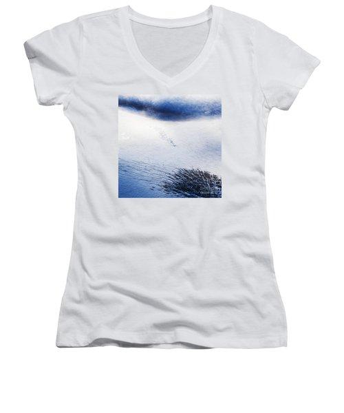 Women's V-Neck T-Shirt (Junior Cut) featuring the photograph Langjokull by Gunnar Orn Arnason