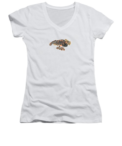 Large Blotched Salamander2 Women's V-Neck T-Shirt (Junior Cut) by Cindy Hitchcock