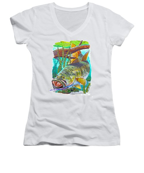 Largemouth Bass Women's V-Neck T-Shirt (Junior Cut) by Carey Chen