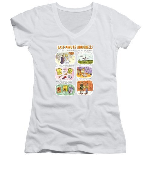 Last-minute Bombshells Women's V-Neck T-Shirt (Junior Cut) by Roz Chast