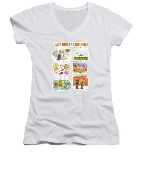 Last-minute Bombshells Women's V-Neck T-Shirt (Junior Cut)