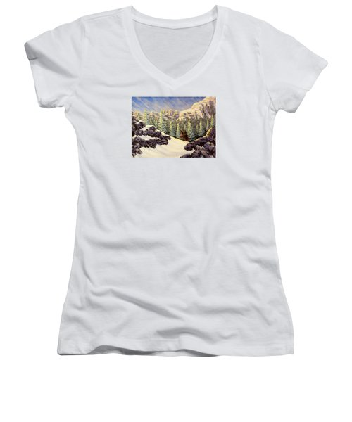 Late Crossing Women's V-Neck T-Shirt (Junior Cut) by Jack Malloch