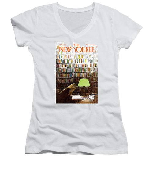 Late Night At The Library Women's V-Neck