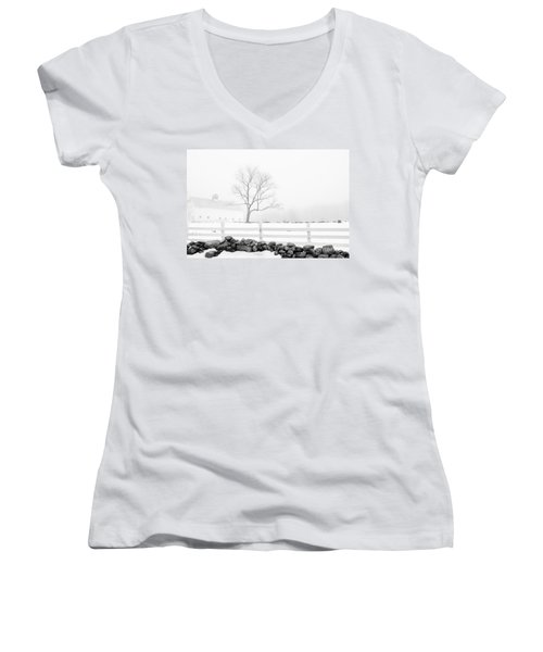 Women's V-Neck T-Shirt (Junior Cut) featuring the photograph Late Winter by Alana Ranney