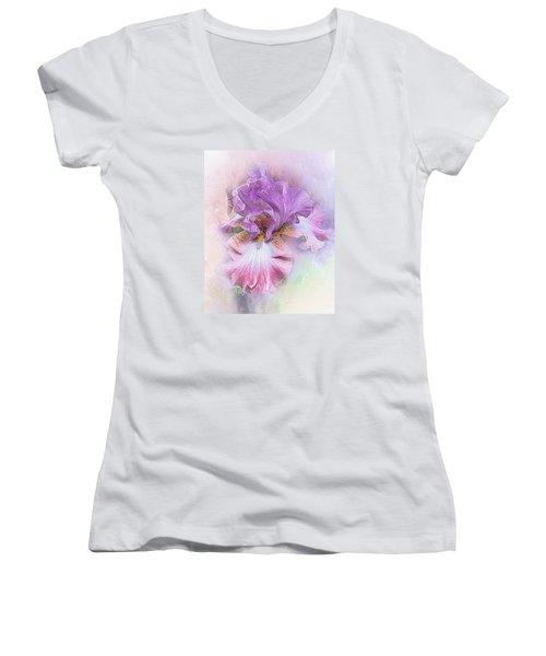 Women's V-Neck T-Shirt (Junior Cut) featuring the digital art Lavendar Dreams by Mary Almond