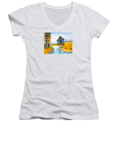 Women's V-Neck T-Shirt (Junior Cut) featuring the painting Lawson River by Pamela  Meredith