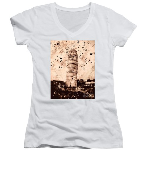 Leaning Tower Of Pisa Sepia Women's V-Neck T-Shirt