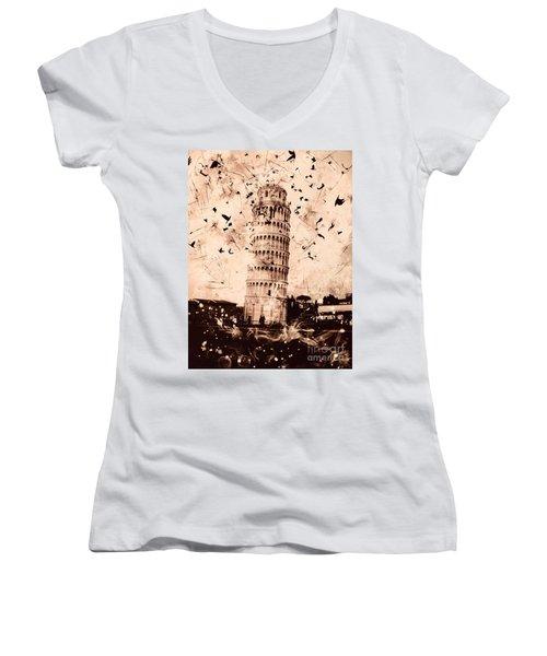 Leaning Tower Of Pisa Sepia Women's V-Neck T-Shirt
