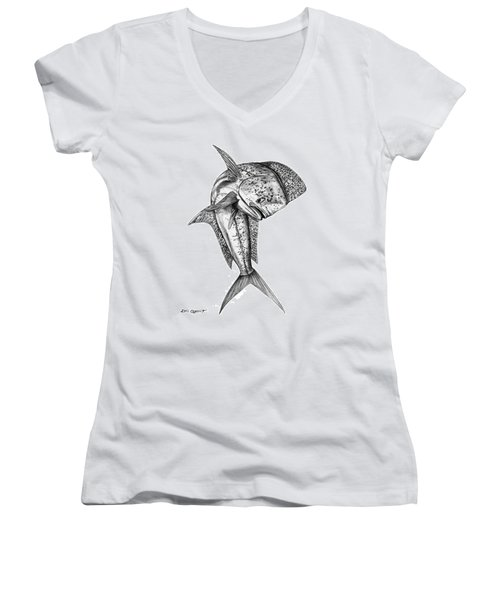 Leaping Dolphin  Women's V-Neck T-Shirt
