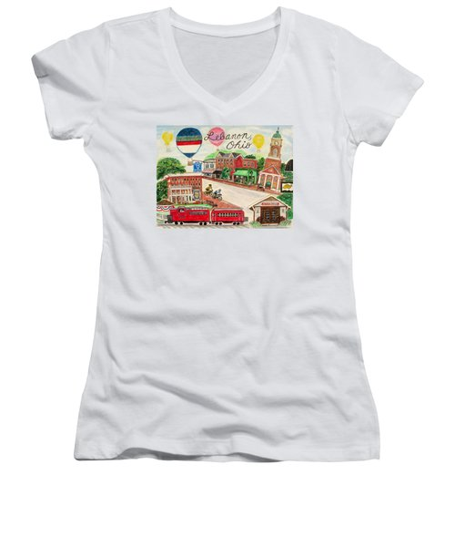 Lebanon Ohio Women's V-Neck T-Shirt (Junior Cut) by Diane Pape