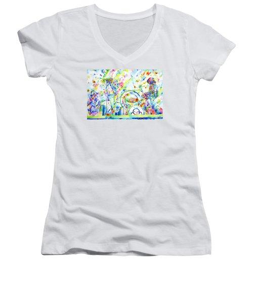 Led Zeppelin Live Concert - Watercolor Painting Women's V-Neck T-Shirt (Junior Cut) by Fabrizio Cassetta