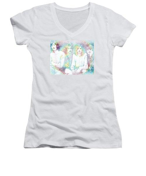 Led Zeppelin Tie Dye Women's V-Neck T-Shirt (Junior Cut) by Dan Sproul
