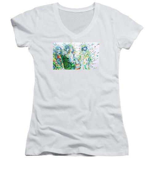 Led Zeppelin - Watercolor Portrait.2 Women's V-Neck T-Shirt (Junior Cut) by Fabrizio Cassetta