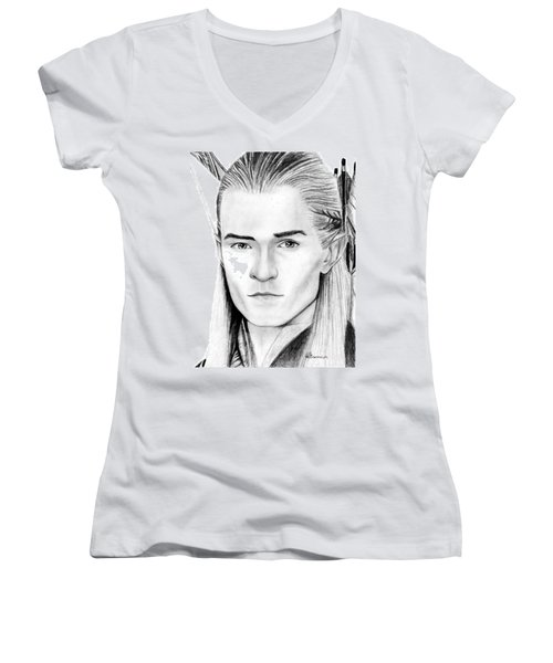 Legolas Greenleaf Women's V-Neck T-Shirt (Junior Cut) by Kayleigh Semeniuk