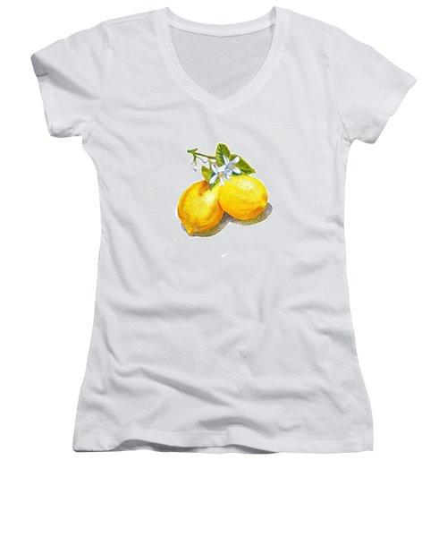 Lemons And Blossoms Women's V-Neck T-Shirt (Junior Cut) by Irina Sztukowski