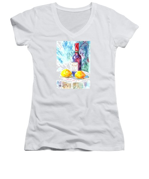 Lemons And Wine And A Little Sunshine Women's V-Neck T-Shirt (Junior Cut) by Carol Wisniewski